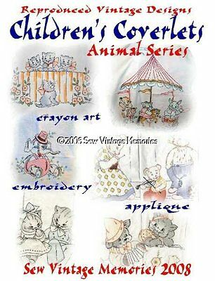 CD Hand Embroidery Patterns Vintage Baby Quilt Vogart Era Crib Covers Animals