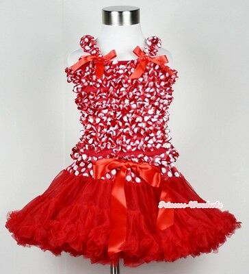 XMAS Hot Red Pettiskirt Skirt Tutu Red White Polka Dots Ruffle Tank Top Set 1-8Y
