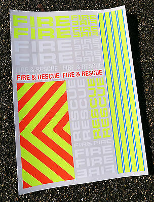 RC 'FIRE & RESCUE' 1/10th scale decals stickers Tamiya LOSI TRAXXAS HPI Kyosho