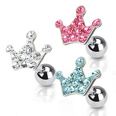 Surgical Steel Tragus / Cartilage / Helix Bar with Multi Paved Crown Top