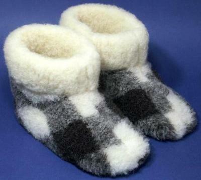 Men's sheep Wool SLIPPERS, New warm felt Boots Sheepskin, pure, for cold weather