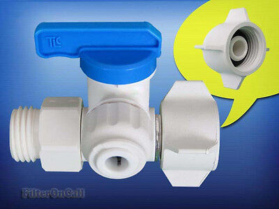 """Twistloc Angle Supply Stop Feed Water Adapter Ball valve 1/2"""" threaded 1/4"""" QC"""