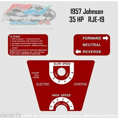 1957 Johnson 35 HP RJE-19 Electric Start Sea Horse Outboard Reproduction Decals