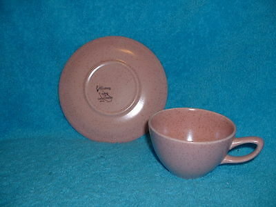 Sa Monterey Made in California USA cup and saucer speckled pink mid century