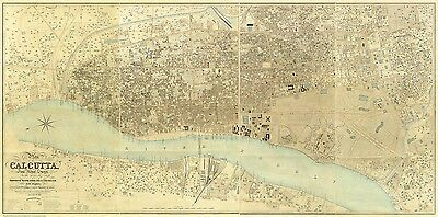 Calcutta, India - an old map by F W Simms, 1857, modern reproduction