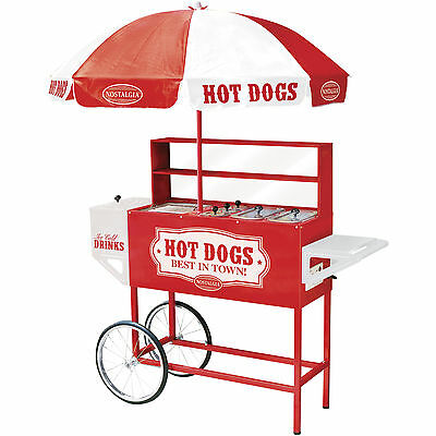 Commercial Hot Dog Cart Stand Grill Cooker, Drink Cooler & Bun Warmer w Umbrella