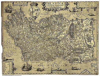 Ireland - an old map by Baptista Boazia, 1606, modern reproduction