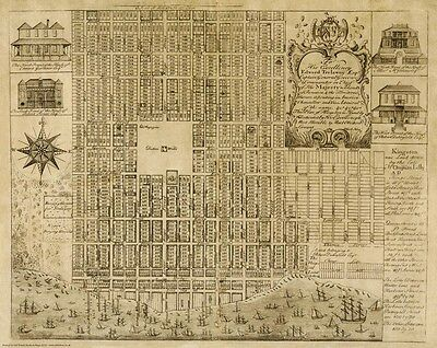 Jamaica, Kingston - an old - vintage map by Michael Hay, 1738