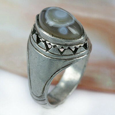 Vintage - Antique Silver Ring & Agate Gemstone  - Ring Size 9.5 US