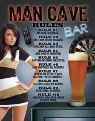 Big 40x31 cm MAN CAVE RULES Pub Retro Garage Tin Metal Sign Man Cave Bar
