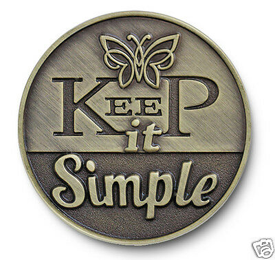 "Antiqued Bronze ""Keep It Simple"" AA/NA/12 Step Recovery Program Coin /Token/Chip"