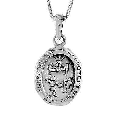 """Sterling Silver St.Christopher Pendant for Tennis, 18"""" Box Chain #pa1303"""