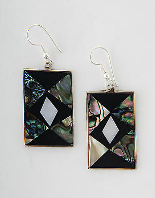 Tumi abalone shell Mexican earrings rectangular  fairtrade Christmas gift