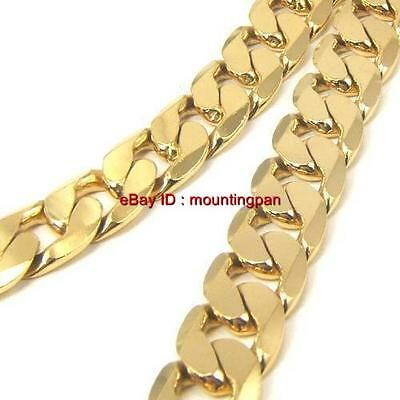 """24K Yellow Gold Filled Men Necklace 24"""" Curb Chain GF Jewelry 12mm Wide Link"""