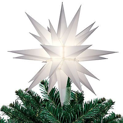 """NEW 12"""" WHITE STAR 26 Point Light Up CHRISTMAS TREE TOPPER Indoor Decoration"""