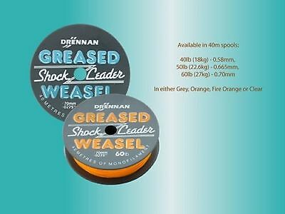 Drennan Greased Weasel Shock Leader Mono Clear Orange 40m New