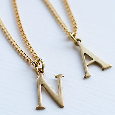 Letter Initial Necklace charm name chain gold alphabet pendant vintage kitsch