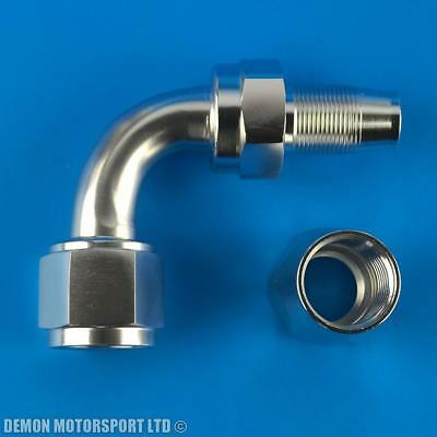 90 Degree Hose Fitting JIC For Braided Hose -6 AN6 6AN (Polished / Silver)