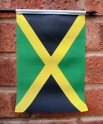 "JAMAICA Medium HAND WAVING FLAG 9"" X 6"" with 10"" pole JAMAICAN CARIBBEAN"
