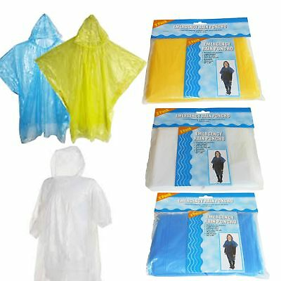 """6x Emergency Rain Ponchos CLEAR Hooded Adult Disposable 50x40"""" Camping Outdoor"""
