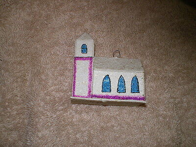 Czechoslovakian Christmas Ornament, Paper Church, Vintage