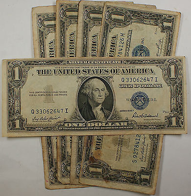 Lot of 5 Old 1935 One $1 Dollar Bills Silver Certificates VG-VF Vintage Notes