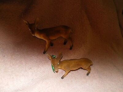 Deer, Pair of Vintage Fuzzy Ones w/Glass Eyes, no Maker marks