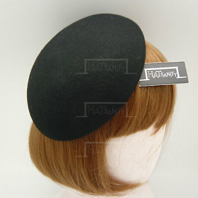 VINTAGE Wool Felt Beret Pillbox Hat Women Plain Fascinator | Black Beige Grey