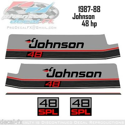 1987-1988 Johnson 48 HP SPL Outboard Reproduction 5 Piece Vinyl Decals