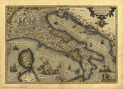 Italy in 1570 - reproduction of an old map by Abraham Ortelius