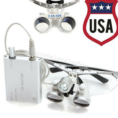 USA- Dental LED light+3.5x 420mm Surgical Medical Binocular Loupes loupe Flip-up