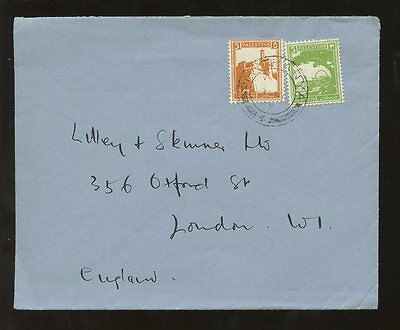 PALESTINE NATHANYA 5pi + 3pi 1930s COVER to LONDON