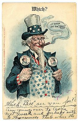 Political Campaign-UNCLE SAM- WILLIAM TAFT & JENNINGS BRYAN-Franz Huld Postcard