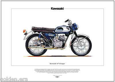 KAWASAKI A7 AVENGER - Motorcycle Fine Art Print - 350cc Twin engined two-stroke