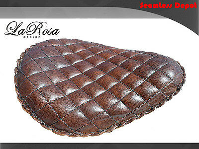 """15/"""" LaRosa HD Springer Style Mount Solo Seat Rustic Brown Leather Tuk /& Roll"""
