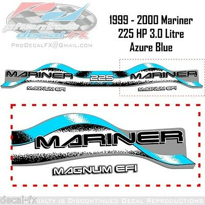 1999-2000 Mariner 225HP Offshore Decal 3.0 Litre V6 Outboard Repro 6 Pc Azure B