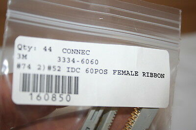 3M 3334-6060 Idc 60Pos Female Ribbon Connector .1Cnt With Strain Relief Qty-3
