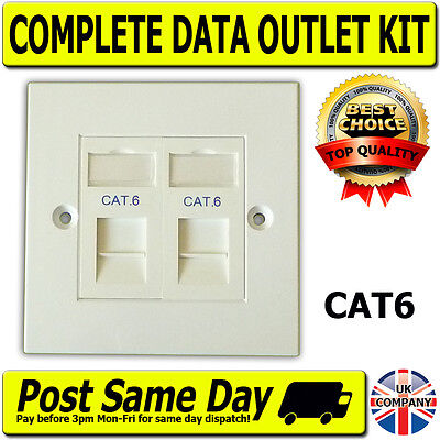 Cat6 2 Way Data Network Outlet Kit, Faceplate, Modules. LAN Ethernet Wall Mount