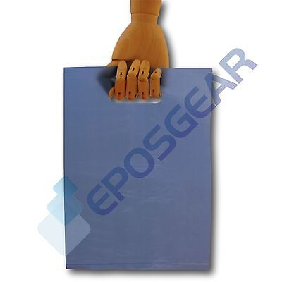 500 Small Blue Punch Out Handle Gift Fashion Party Market Plastic Carrier Bags