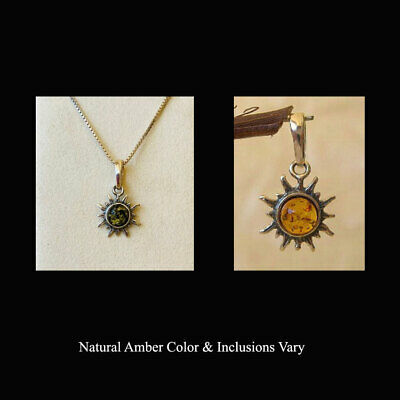 BALTIC HONEY or GREEN AMBER & STERLING SILVER SUN SMALL SIZE PENDANT CHARM