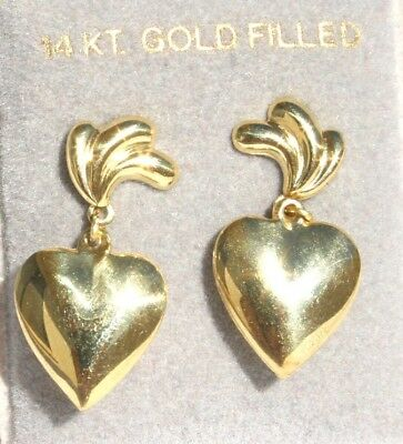 Vintage Gorgeous14K Gold Filled PUFF Heart Dangle Earrings Signed & original