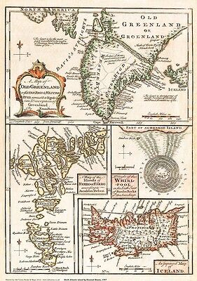 Greenland Iceland Faroes 1747 - repro old map by E Bowen 58x51cm, 23x16ins