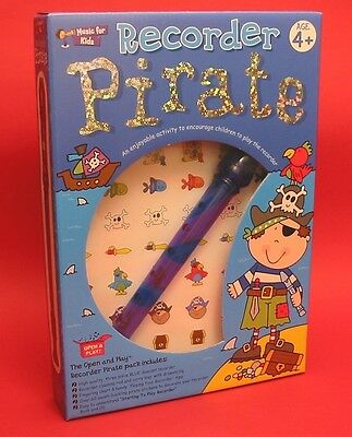 Music For Kids Pirate Beginners Book CD & Blue Recorder For Child Age 4+ Gift