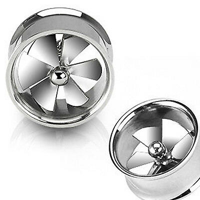 Surgical Steel Spinning Pinwheel Fan Double Flare Flesh Tunnel / Stretcher Plug