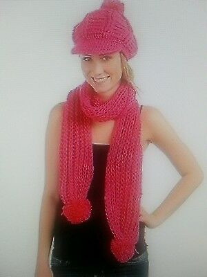 Warm Winter knitted stylish  beret beanie bun Hat and scarf Set