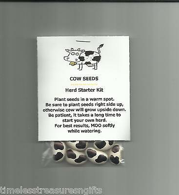 NEW Cow Seeds Novelty Gag Gift Farmer Gardener Holstein Herd Starter Joke Prank