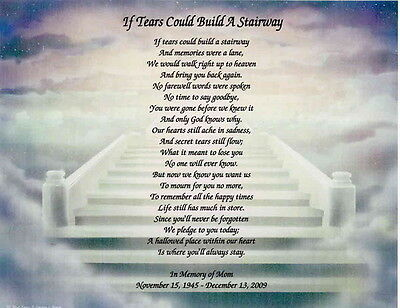 Memorial Personalized Poem Loss of Mother, Daughter, Wife, Father, Husband
