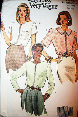 Miss MP UNCUT Vogue 7972 Sewing Pattern Very Loose Fitting Blouse Size 8-10-12