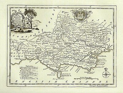 Dorsetshire 1786 - repro old map of Thomas Kitchin - 54x41cm - 21x16ins