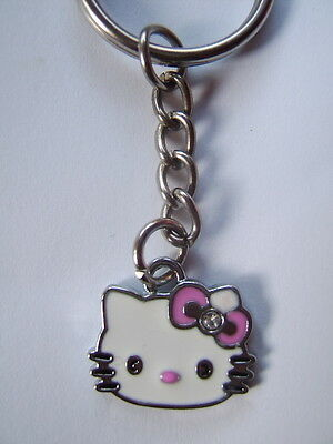 Hello kitty Enamel key ring . Pink Bow    FREEPOST  *UK SELLER*